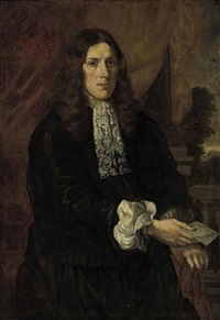 portrait of a gentleman (james cook?) in a black doublet and pantaloons and a lace jabot holding a manuscript in his right hand, a landscape beyond by pieter nason