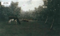 pastoral scene with resting cows by anton mylinder
