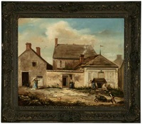 figures in a yard before a group of houses by louis-victor thevenin