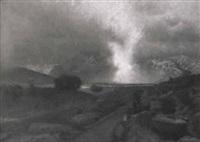 urwüchsige landschaft mit gebirgskette im hintergrund by rudolf huthsteiner