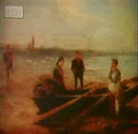 figures on shore by w. voltana