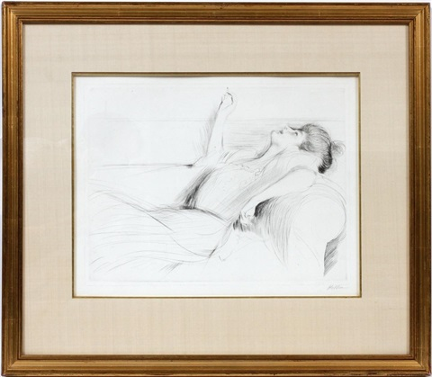 femme allongee by paul césar helleu