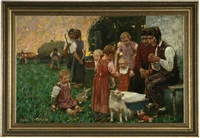 farming family gathered together by karl hartmann