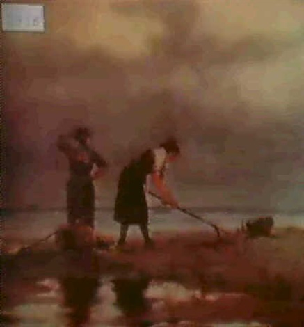 beach scene with two women by charles paul gruppe