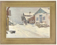 a quiet snow covered street (+ thirsty work; 2 works) by leonid ignatevich vaishlya