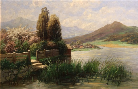 a garden at rivers edge with mountains in the distance by theodor her