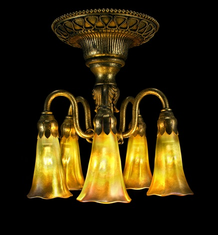 five light lily ceiling fixture by louis comfort tiffany