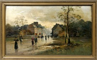 street scene in rain by paul r. koehler