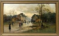 street scene in rain by paul r. koehler