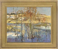 reflections (+ the snowy riverbank, 1965; 2 works) by leonid ignatevich vaishlya