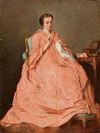 dame in lachsfarbenem kleid beim sticken by benjamin eugène fichel