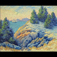 view of a sailing ship off the rocky coast by karl s. bolander