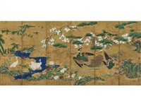 birds in a flowering landscape (in 6 parts) by kano tsunenobu