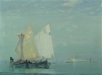 view of ships near venice by oliver dennett grover
