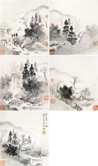 山水 (album of 5) by li xiongcai