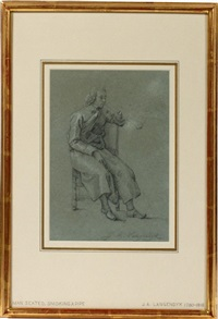 man seated smoking a pipe by jan anthonie langendyk