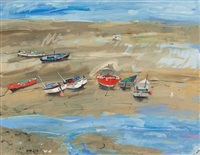 boats at low tide by hamish macdonald