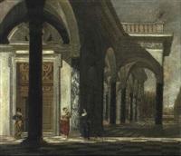 palastvorhalle mit drei frauen im vordergrund by wilhelm schubert van ehrenberg
