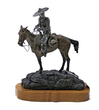 spanish cowboy on a horse with a gun by jay contway