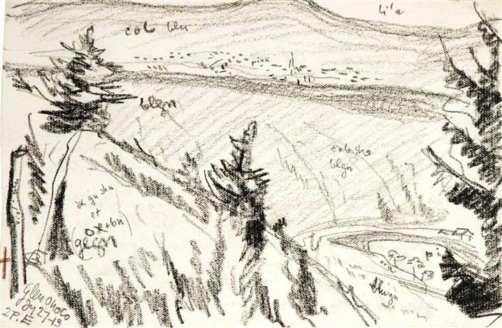 glen onoko; west, new york (2 works) by oscar florianus bluemner