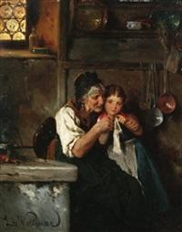 bei der handarbeit. großmutter lehrt enkelin das stricken by ludwig vollmar