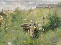 flicka vid gärdesgård by elisabeth warling