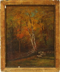 autumn landscape with sheep by edward hill