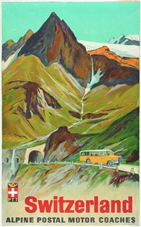 switzerland, alpine postal motor coaches by hans beat wieland