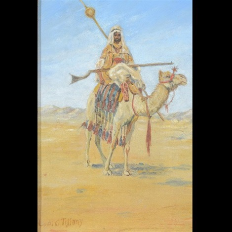arab bedouin camel in desert by louis comfort tiffany