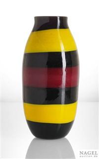 vase nero e fasce policromo by pollio perelda