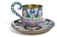 cup and saucer with scroll handle decorated with stylized foliate motifs and floral arches (set of 2) by nikolai zverev