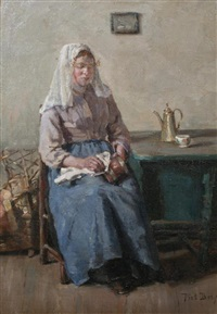 young woman busy cleaning the copper work by piet bos