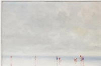 misty beach scene with figures by andré gisson