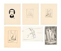 konvolut zeichnungen. 6-tlg (6 works) by thilo maatsch