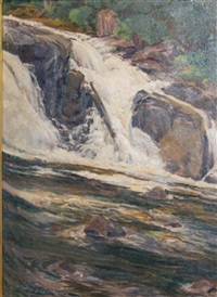 view of buttermilk falls, new york by j. winthrop andrews
