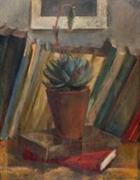 stillleben mit kaktus und büchern by martin lauterburg