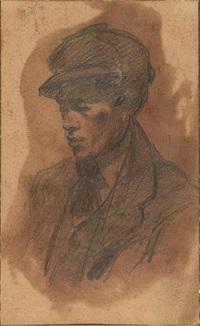 ritratto di giovane con cappello by lorenzo viani
