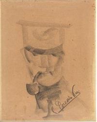 ritratto di ufficale con pipa by lorenzo viani