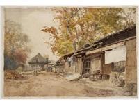 village road in autumn by hiroshi yoshida