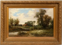 fisherman in landscape by r. percy