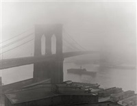 brooklyn bridge in fog, new york by andreas feininger