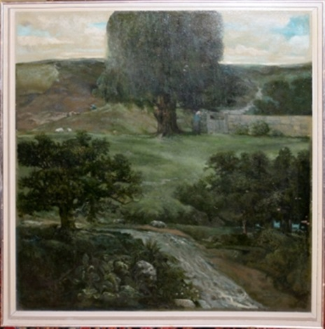 landscape with shepherd sheep by jack cudworth