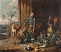 scheuneneinfahrt mit bauer beim entladen von gemüse by matheus van helmont