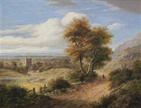 yorkshire landscape with castle by james nasmyth