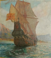 untitled - galleon running away #2 by john p. benson