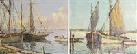 docked sail boat (+ another; pair) by william dudley brunett ward jr.