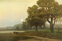 cattle by a pond at sunset by carl von perbandt