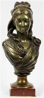 bust of a female by albert ernest carrier-belleuse