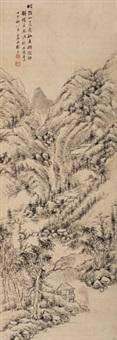 叠嶂翠岗图 立轴 纸本 by gu yun