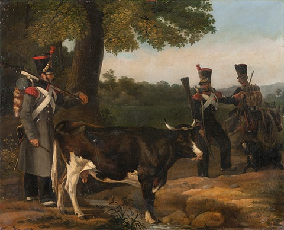 französische soldaten mit kuh by nicolas toussaint charlet